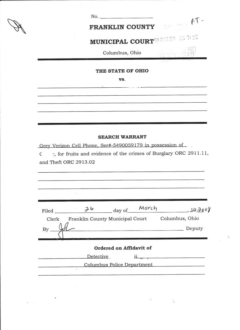 Cell Phone Search Warrant